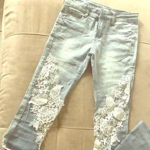 Denim - Lace Detailing denim jeans S